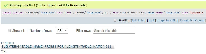 SQL query result