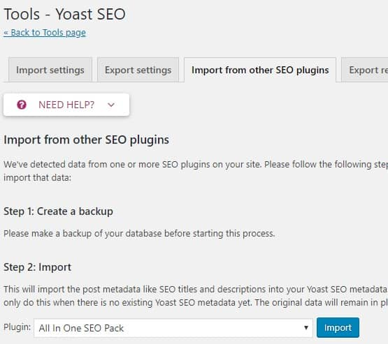 Yoast SEO import and export