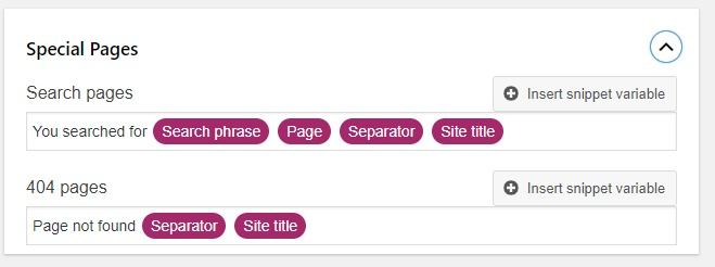 search appearance archives special pages