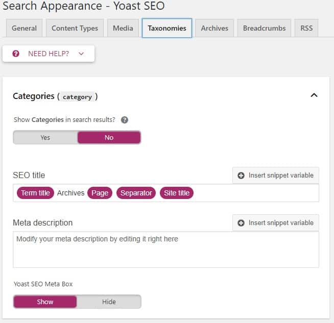 search appearance taxonomies