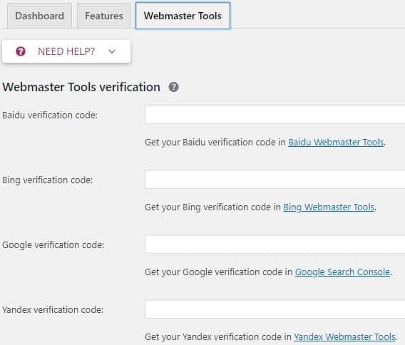 yoast dashboard webmaster tools