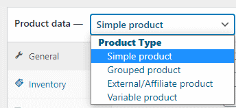 edit woocommerce product: product  type - simple, grouped, external/affiliate and variable