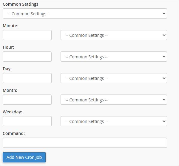 cron job common settings cpanel