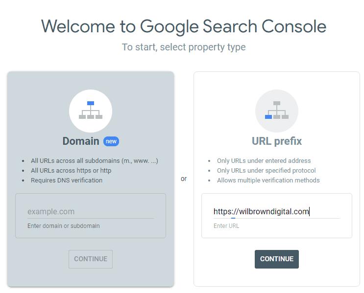 google search console add site