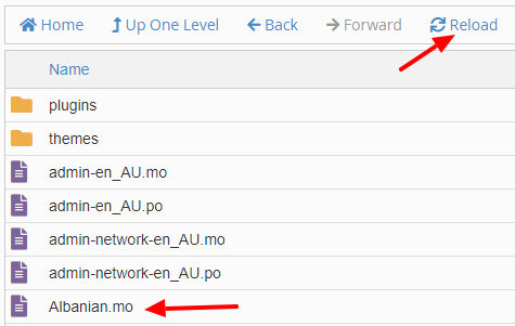 cPanel File Manager showing uploaded Albanian.mo file