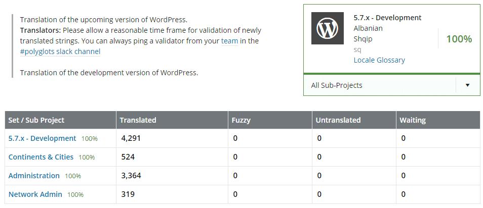 WordPress download language pack page