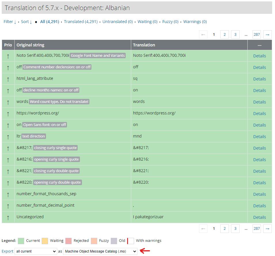 WordPress translation language export page